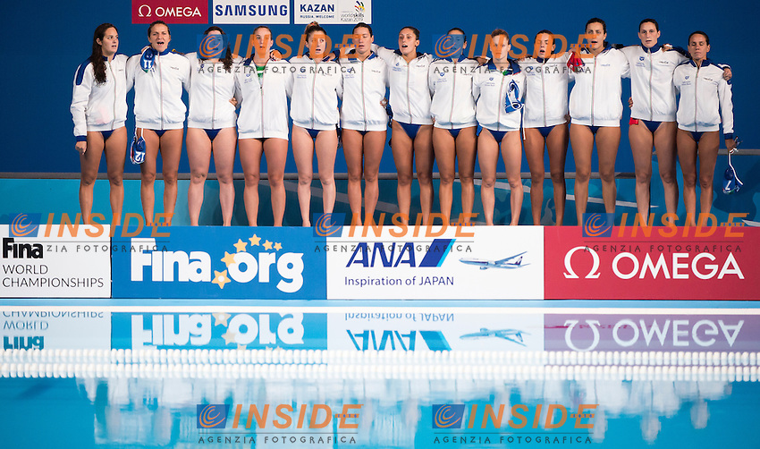 Team ITALY bronze medal<br /> AUSTRALIA vs ITALY <br /> AUS vs ITA<br /> Waterpolo - Women's classification 4th-3rd place match<br /> Day 15 07/08/2015<br /> XVI FINA World Championships Aquatics Swimming<br /> Kazan Tatarstan RUS July 24 - Aug. 9 2015 <br /> Photo Giorgio Perottino/Deepbluemedia/Insidefoto