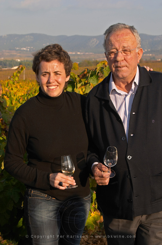 Marta & Joan Mila, father and daughter, owner winemaker. Mas Comtal, Avinyonet, Penedes, Catalonia, Spain