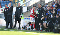 Fleetwood Town's Martyn Woolford takes his place on the bench after being replaced in the second half<br /> <br /> Photographer Stephen White/CameraSport<br /> <br /> The EFL Sky Bet League One - Oldham Athletic v Fleetwood Town - Saturday 8th April 2017 - SportsDirect.com Park - Oldham<br /> <br /> World Copyright &copy; 2017 CameraSport. All rights reserved. 43 Linden Ave. Countesthorpe. Leicester. England. LE8 5PG - Tel: +44 (0) 116 277 4147 - admin@camerasport.com - www.camerasport.com