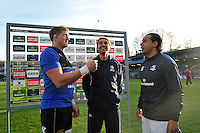 Captains Stuart Hooper of Bath Rugby and Isa Nacewa of Leinster Rugby take part in the pre-match coin toss. European Rugby Champions Cup match, between Bath Rugby and Leinster Rugby on November 21, 2015 at the Recreation Ground in Bath, England. Photo by: Patrick Khachfe / Onside Images