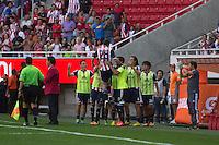 GUADALAJARA,JAL. AUGUST 18, 2013.  Antonio Gallardo of Chivas celebrating the goal  during the game of Liga MX between Chivas against Puebla at Omnilife Stadium. // Antonio Gallardo de Chivas celebrando el Gol durante el juego  de La Liga MX entre Chivas vs Atlante  en el Estadio Omnilife. <br /> PHOTOS: NORTEPHOTO/GERMAN QUINTANA**CRÉDITO OBLIGATORIO** **USO EDITORIAL** **NO VENTAS** **NO ARCHIVO**