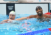 August 02, 2012..Cielo Cesar and Cullen Jones react after competing in Men's 50m Freestyle Semifinal at the Aquatics Center on day six of 2012 Olympic Games in London, United Kingdom.