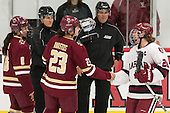Dana Trivigno (BC - 8), Andie Anastos (BC - 23), Michelle Picard (Harvard - 20) - The visiting Boston College Eagles defeated the Harvard University Crimson 2-0 on Tuesday, January 19, 2016, at Bright-Landry Hockey Center in Boston, Massachusetts.