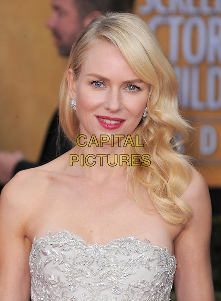Naomi Watts  .Arrivals at the 19th Annual Screen Actors Guild Awards at the Shrine Auditorium in Los Angeles, California, USA..27th January 2013.SAG SAGs headshot portrait grey gray lace strapless pink lipstick .CAP/DVS.©DVS/Capital Pictures.