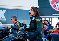 Oct 11, 2019; Concord, NC, USA; NHRA pro stock motorcycle rider Jianna Salinas during qualifying for the Carolina Nationals at zMax Dragway. Mandatory Credit: Mark J. Rebilas-USA TODAY Sports