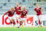 ****BETALBILD**** <br /> Stockholm 2015-04-08 Fotboll Landskamp Damer , Sverige - Danmark :  <br /> Danmarks Pernille Harder (Link&ouml;pings FC) jublar med lagkamrater efter sitt 3-3 m&aring;l p&aring; straff under matchen mellan Sverige och Danmark <br /> (Photo: Kenta J&ouml;nsson) Keywords:  Sweden Sverige Denmark Danmark Landskamp Dam Damer Tele2 Arena Stockholm  jubel gl&auml;dje lycka glad happy