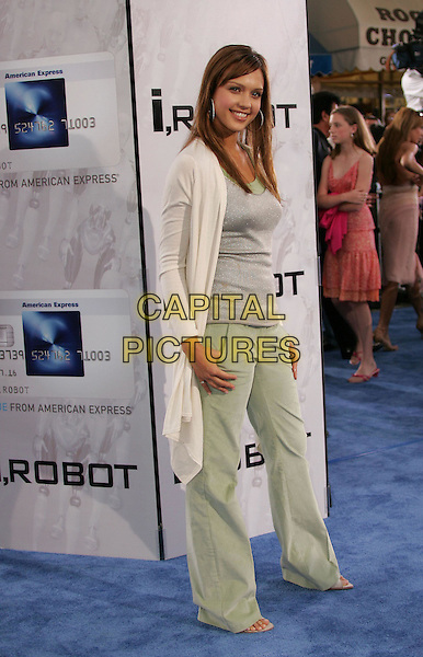 "JESSICA ALBA.Attends Twentieth Century Fox's World Premiere of ""I, Robot"" held at The Mann's Village Theatre in Westwood,.California, July 7th 2004..full length large silver hoop earrings sparkly vest top green trousers white cream cardigan.*UK sales only*.www.capitalpictures.com.sales@capitalpictures.com.©Capital Pictures"