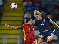 20170723 - BREDA , NETHERLANDS : English Millie Bright (16) and Spanisj Jennifer Hermoso (10) pictured during the female soccer game between England and Spain  , the second game in group D at the Women's Euro 2017 , European Championship in The Netherlands 2017 , Sunday 23 th June 2017 at Stadion Rat Verlegh in Breda , The Netherlands PHOTO SPORTPIX.BE | DIRK VUYLSTEKE