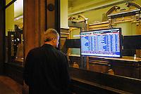 - Milan, display with stock quotes in the bank Cesare Ponti<br /> <br /> - Milano, display con le quotazioni di borsa nella banca Cesare Ponti