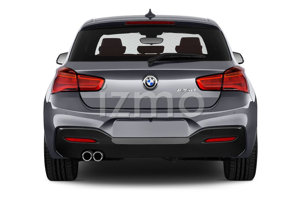 Straight rear view of a 2015 BMW 1 Series M Sport 3 Door Hatchback Rear View  stock images