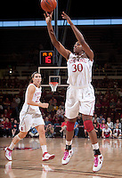 STANFORD, CA - February 12, 2011: Nnemkadi Ogwumike of the Stanford Cardinal women's basketball team shoots during Stanford's 62-52 win over Washington at Maples Pavilion.