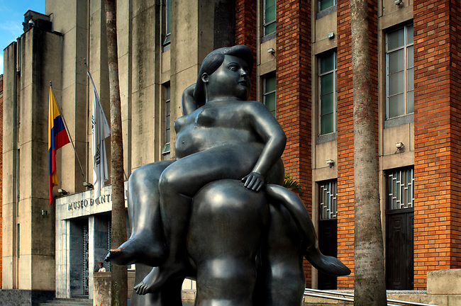 Fernando Botero's sculpture, 'Rape Of Europe', sits in front of the Museum of Antioquia in the Plaza Botero.  Botero is a native son of Medellin and donated 23 of his most famous sculptures, known for their exxagerated forms, to the plaza.  The museum is an art museum that houses work of Botero and other Colombian artists.