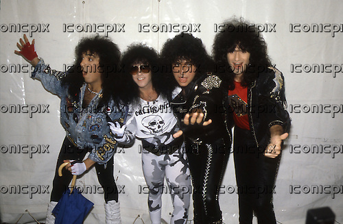 KISS - L-R: Paul Stanley, Eric Singer, Gene Simmons, Bruce Kulick - Monsters of Rock festival at Castle Donington Leicestershire UK - 20 Aug 1988.  Photo credit: George Bodnar Archive/IconicPix