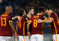 Calcio, Serie A: Roma vs Sampdoria. Roma, stadio Olimpico, 7 febbraio 2016.<br /> Roma&rsquo;s Diego Perotti, second from left, celebrates with teammates, from left, Maicon, Alessandro Florenzi, Miralem Pjanic and Kostas Manolas, after scoringduring the Italian Serie A football match between Roma and Sampdoria at Rome's Olympic stadium, 7 January 2016.<br /> UPDATE IMAGES PRESS/Riccardo De Luca