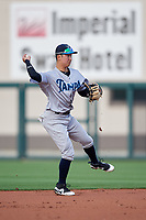 Tampa Tarpons second baseman Hoy Jun Park (1) throws to first base during a game against the Lakeland Flying Tigers on April 5, 2018 at Publix Field at Joker Marchant Stadium in Lakeland, Florida.  Tampa defeated Lakeland 4-2.  (Mike Janes/Four Seam Images)