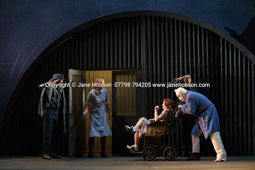 English Touring Opera presents XERXES, by George Frideric Handel, at the Hackney Empire, prior to setting off on a UK tour. Picture shows: Peter Brathwaite (Elviro), Laura Mitchell (Romilda), Galina Averina (Atalanta), Clint van der Linde (Arsamenes)