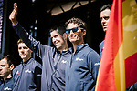 Movistar Team at the team presentations in Compiegne before Paris-Roubaix 2019, Compiegne, France. 13th April 2019<br /> Picture: ASO/Pauline Ballet | Cyclefile<br /> All photos usage must carry mandatory copyright credit (&copy; Cyclefile | ASO/Pauline Ballet)