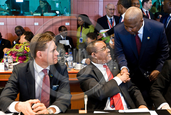 BRUSSELS - BELGIUM - 02 April 2014 -- EU - Africa Summit. -- (front) Jyrki KATAINEN, Prime Minister of Finland with Hailemariam Desalegn Prime Minister of Ethiopia who is being greeted by John Dramani Mahama, President of Ghana. -- PHOTO: Juha ROININEN / EUP-IMAGES