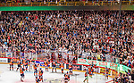 Stockholm 2014-09-17 Ishockey SHL Djurg&aring;rdens IF - Leksands IF :  <br /> Djurg&aring;rdens spelare jublar med Djurg&aring;rdens supportrar efter matchen<br /> (Foto: Kenta J&ouml;nsson) Nyckelord:  Djurg&aring;rden DIF Hockey Globen Ericsson Globe Arena SHL Leksand LIF jubel gl&auml;dje lycka glad happy supporter fans publik supporters