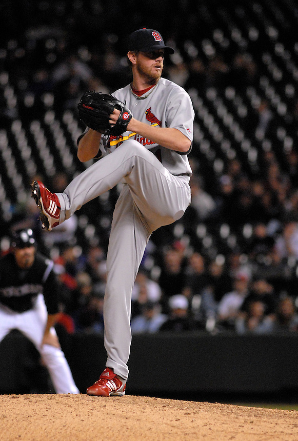 St. Louis Cardinals relief pitcher Ryan Franklin pitches against the Colorado Rockies during a game at Coors Field on May 6, 2008.