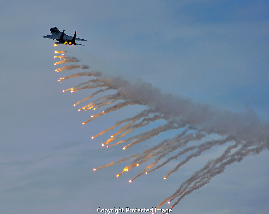 F-15 Eagle Deploys Flares