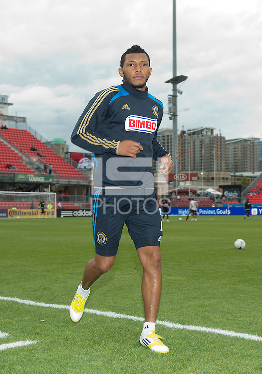 15 September 2012: Philadelphia Union defender Carlos Valdes #2 after the warm-up in an MLS game between the Philadelphia Union and Toronto FC at BMO Field in Toronto, Ontario..The game ended in a 1-1 draw..