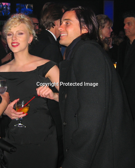 Scarlett Johansen & Jared Leto.**EXCLUSIVE**.2005 Vanity Fair Post Oscar Party.Mortons Restaurant.Beverly Hills, CA, USA .Sunday, February, 27, 2005.Photo By Celebrityvibe.com/Photovibe.com, New York, USA, Phone 212 410 5354, email:sales@celebrityvibe.com.