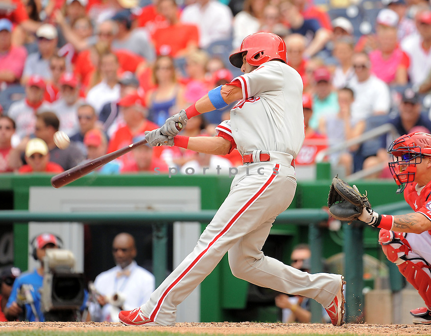 Philadelphia Phillies Wil Nieves (21) during a game against the Washington Nationals on August 3, 2014 at Nationals Park in Washington, DC. The Nationals beat the Phillies 4-0.