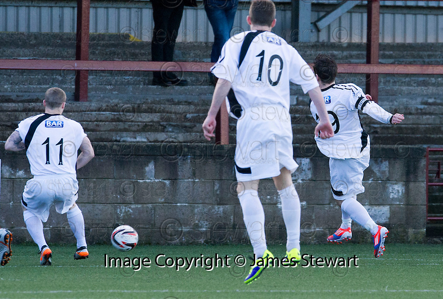 East Fife's Liam Buchanan (19) scores their goal.<br /> <br /> <br /> 15/02/2014   jspa006_smuir_v_efife     <br /> Copyright  Pic : James Stewart   <br /> <br /> James Stewart Photography 19 Carronlea Drive, Falkirk. FK2 8DN      Vat Reg No. 607 6932 25   Tel:  +44 (0)7721 416997<br /> E-mail  :  jim@jspa.co.uk   If you require further information then contact Jim Stewart on any of the numbers above........