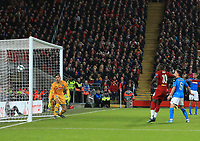 27th November 2019; Anfield, Liverpool, Merseyside, England; UEFA Champions League Football, Liverpool versus SSC Napoli ;  SSC Napoli goal keeper Alex Meret is unbable to stop the header of Dejan Lovren of Liverpool finding the net after 65 minutes - Editorial Use