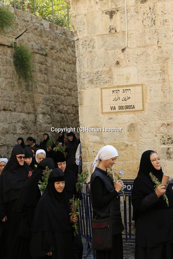 Israel, Jerusalem, the Greek Orthodox Assumption Day Procession at the Via Dolorosa