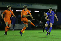 George Woodward of Romford goes close during Romford vs Brentwood Town, Velocity Trophy Football at the Brentwood Centre on 8th October 2019