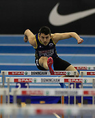 10th February 2019, Arena Birmingham, Birmingham, England; Spar British Athletics Indoor Championships; Harry Hillman competes in the heats of the men's 60m hurdles during Day Two of the Spar Indoor Athletics Championships at Birmingham Arena