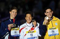 400 Individual Medley men<br /> KALISZ Chase, United States USA, silver medal<br /> SETO Darya, Japan JPN, gold medal<br /> PEREIRA Thiago, Brazil BRA, bronze medal <br /> Swimming - Nuoto <br /> Barcellona 4/8/2013 Palau St Jordi <br /> Barcelona 2013 15 Fina World Championships Aquatics <br /> Foto Andrea Staccioli Insidefoto