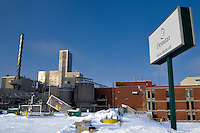 The Norkraft Domtar pulp mill is pictured December 30, 2008 in Lebel-Sur-Quevillon (QC). Stopped since November 2005 for a lock out, the Domtar mill permanently closed its door December 18 2008. The pulp mill and the sawmill, also closed, where responsible for 70% of the job in this mono industrial town of 3000 citizens located 600km north of Montreal.