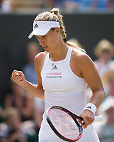 Angelique Kerber (1) of Germany in action against Shelby Rogers of United States in their Ladies' Singles Third Round Match today - Kerber def Rogers 4-6, 7-6, 6-4<br /> <br /> Photographer Ashley Western/CameraSport<br /> <br /> Wimbledon Lawn Tennis Championships - Day 6 - Saturday 8th July 2017 -  All England Lawn Tennis and Croquet Club - Wimbledon - London - England<br /> <br /> World Copyright &not;&copy; 2017 CameraSport. All rights reserved. 43 Linden Ave. Countesthorpe. Leicester. England. LE8 5PG - Tel: +44 (0) 116 277 4147 - admin@camerasport.com - www.camerasport.com