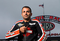 Aug 31, 2014; Clermont, IN, USA; NHRA pro stock motorcycle rider Eddie Krawiec during qualifying for the US Nationals at Lucas Oil Raceway. Mandatory Credit: Mark J. Rebilas-USA TODAY Sports