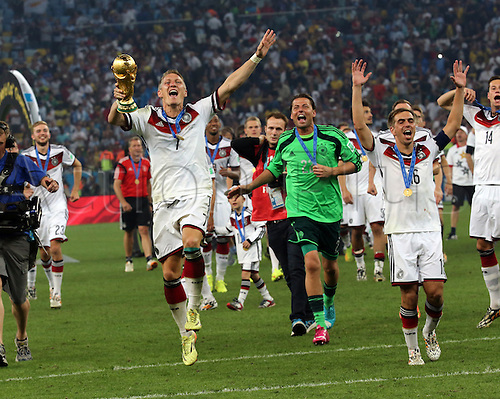 13.07.2014. Rio de Janeiro, Brazil. World Cup Final. Germany versus Argentina. Schweinsteiger celebrates with trophy