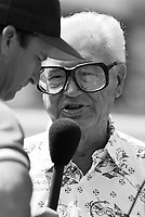 Chicago Cubs broadcaster Harry Carey before a 1995 spring training game at Hohokam Stadium in Mesa,Arizona.(Larry Goren/Four Seam Images)