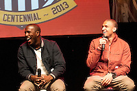 (From left to right) Jozy Altidore and Terrence Boyd share a laugh while answering questions on the stage at the Paramount Theater in Denver, CO during the USA Men's National Team prep rally on March 21, 2013.