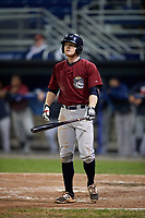 Mahoning Valley Scrappers first baseman Mitch Reeves (1) at bat during a game against the Batavia Muckdogs on September 5, 2017 at Dwyer Stadium in Batavia, New York.  Mahoning Valley defeated Batavia 4-3.  (Mike Janes/Four Seam Images)
