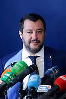 The Italian Minister fo internal affairs Matteo Salvini<br /> Roma 08/10/2018. Convegno Crescita economica e prospettive sociali in un'Europa delle Nazioni.<br /> Rome October 8th 2018. Debate bout the economic growth and social prospectives in the Europe of Nations.<br /> Foto Samantha Zucchi Insidefoto