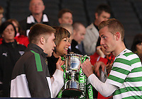 Marcus Fraser (left) and John Herron collecting the trophy in the Dunfermline Athletic v Celtic Scottish Football Association Youth Cup Final match played at Hampden Park, Glasgow on 1.5.13. ..