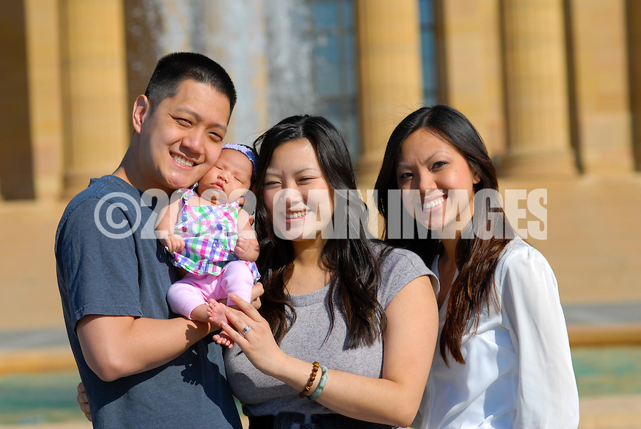 PHILADELPHIA - MAY 19: The Chang family is photographed at the Philadelphia Museum of Art May 19, 2012 in Philadelphia, Pennsylvania. (Photo by William Thomas Cain/Cain Images)