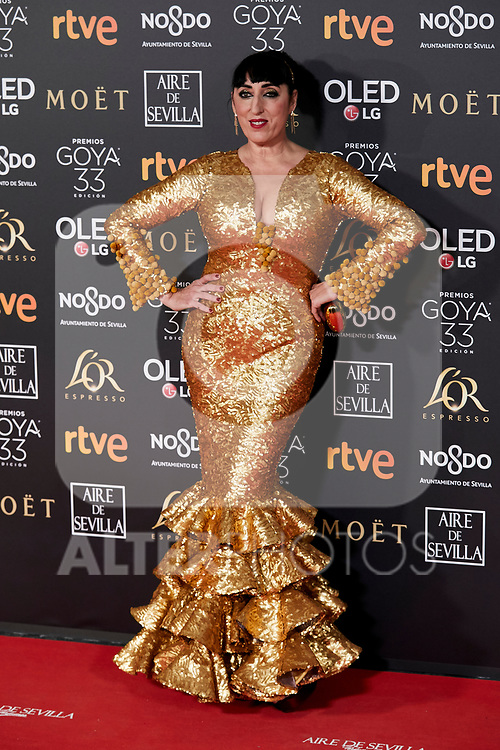 Rossy de Palma attends to 33rd Goya Awards at Fibes - Conference and Exhibition  in Seville, Spain. February 02, 2019. (ALTERPHOTOS/A. Perez Meca)