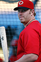 Adam Dunn of the Cincinnati Reds during batting practice before a game against the Los Angeles Dodgers in a 2007 MLB season game at Dodger Stadium in Los Angeles, California. (Larry Goren/Four Seam Images)