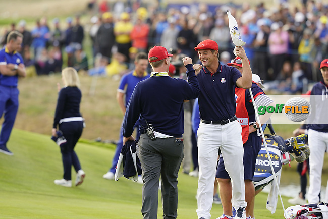 Bryson Dechambeau (Team USA) during the singles matches at the Ryder Cup, Le Golf National, Ile-de-France, France. 30/09/2018.<br /> Picture Fran Caffrey / Golffile.ie<br /> <br /> All photo usage must carry mandatory copyright credit (© Golffile | Fran Caffrey)