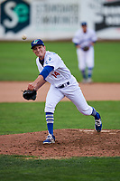 Devin Hemmerich (14) of the Ogden Raptors delivers a pitch to the plate against the Great Falls Voyagers at Lindquist Field on September 14, 2017 in Ogden, Utah. The Raptors defeated the Voyagers 7-4 in Game One of the Pioneer League Championship. (Stephen Smith/Four Seam Images)