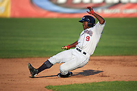 Mahoning Valley Scrappers left fielder Silento Sayles (9) slides into second during a game against the Auburn Doubledays on June 19, 2016 at Falcon Park in Auburn, New York.  Mahoning Valley defeated Auburn 14-3.  (Mike Janes/Four Seam Images)