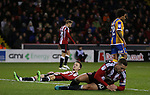 Stefan Scougall of Sheffield Utd reflects after another save from the Shrewsbury goal keeper during the English League One match at the Bramall Lane Stadium, Sheffield. Picture date: November 19th, 2016. Pic Simon Bellis/Sportimage